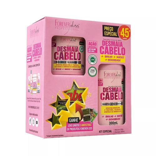 Kit-Especial-Forever-Liss-Desmaia-Cabelo-Shampoo-300ml-e-Mascara-200g
