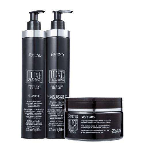 Kit-Amend-Luxe-Creations-Extreme-Repair-Shampoo---Condiconador-300ml---Mascara-de-Reparacao-250g-Fikbella