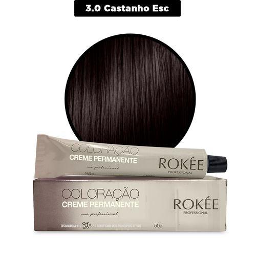 Coloracao-Creme-Permanente-ROKEE-Professional-50g-Castanho-Escuro-3-0-Fikbella-142497