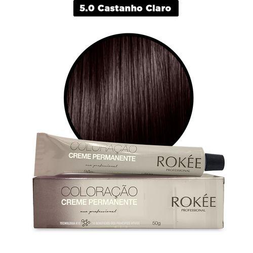Coloracao-Creme-Permanente-ROKEE-Professional-50g-Castanho-Claro-5-0-Fikbella-142499