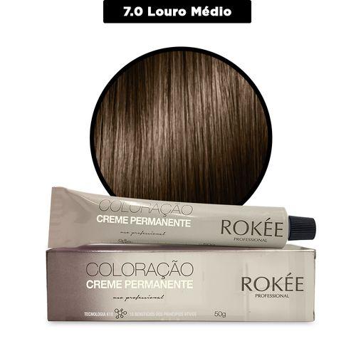 Coloracao-Creme-Permanente-ROKEE-Professional-50g-Louro-Medio-7-0-Fikbella