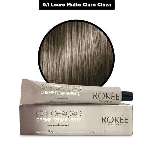 Coloracao-Creme-Permanente-ROKEE-Professional-50g-Louro-Claro-Cinza-9-1-Fikbella-142513