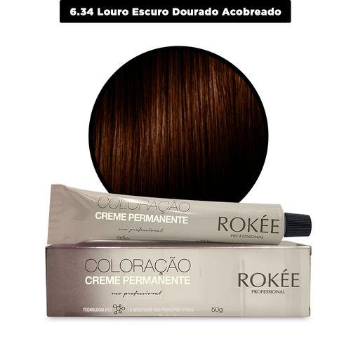 Coloracao-Creme-Permanente-ROKEE-Professional-50g-Louro-Escuro-Dourado-Acobreado-6-34-Fikbella-142519
