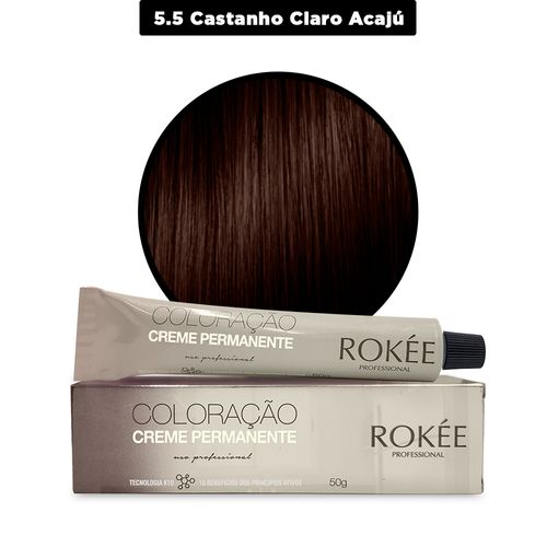 Coloracao-Creme-Permanente-ROKEE-Professional-50g-Castanho-Claro-Acaju-5-5-Fikbella-142536