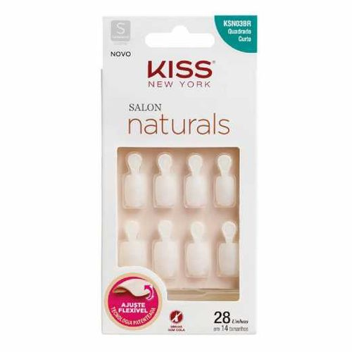 Unha-Salon-Natural-Curto-Quadrado-First-Kiss-fikbella