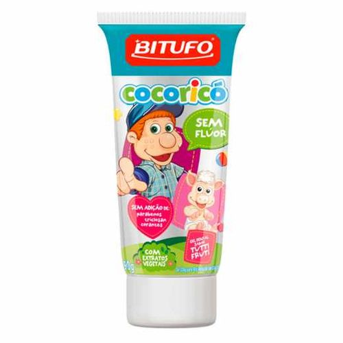 Gel-Dental-Bitufo-Cocorico-Sem-Fluor-Sabor-Tutti-Fruti---90g-Fikbella