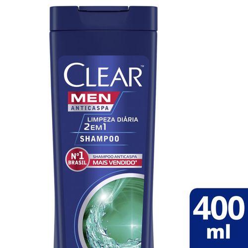 Shampoo Clear Anticaspa Limpeza Diária 2 em 1 - 400ml