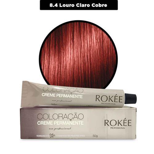 Coloracao-Creme-Permanente-ROKEE-Professional-50g-Louro-Claro-Cobre-8-4-Fikbella-142518