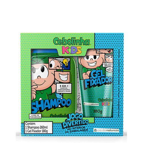 Kit-Shampoo-3-em-1-260ml---Gel-Fixador-180g-Cebolinha-Cia-da-Natureza-fikbella-146148