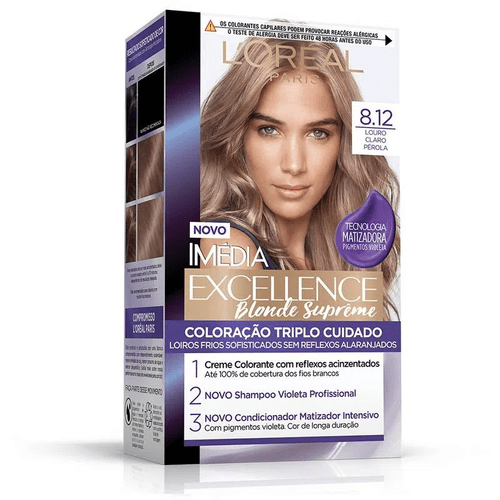 Kit-Tintura-Imedia-Excellence-L-Oreal-Blonde-Supreme---Louro-Claro-Perola-8.12-Fikbella