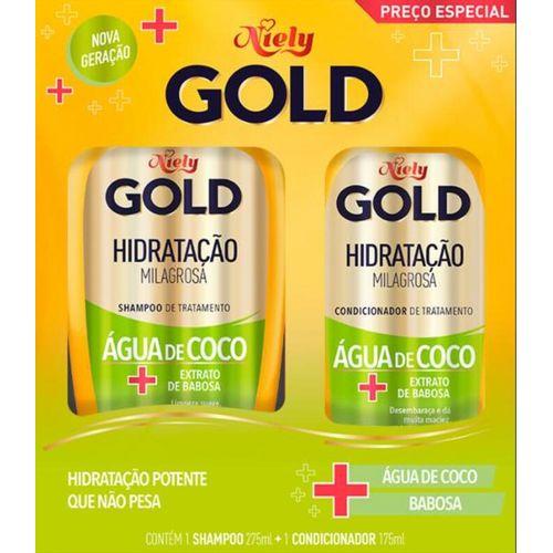 Kit-Shampoo-275ml---Condicionador-175ml-Hidratacao-Agua-de-Coco-Niely-Gold-fikbella